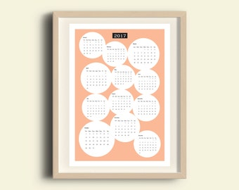 Printable calendar, peach calendar, wall calendar, 2017 calendar, wall calendar, kitchen decor office decor yearly calendar peach home decor