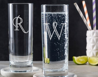 Personalised Highball Glass With Initial Engraved