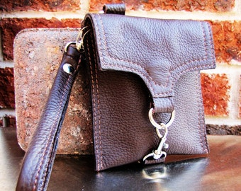 Brown leather wristlet, small leather case, small iPhone case wallet, credit cards wallet, custom to fit iPhone 8 or 7