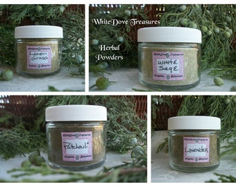 White Sage Powder 1oz Jar or Refill ~ Patchouli Powder ~ Lavender Powder ~ Lemongrass Powder ~ Fresh Ground Incense Powder ~ Herbal Powders