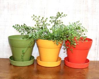 Vintage Set of Three Retro Flower Pots, Plastic Pots with Watering Tray, Orange/Gold/Green, Bohemian Decor