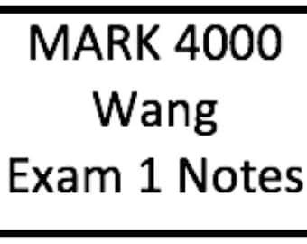 MARK 4000 Exam 1 Notes