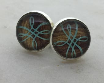 Teal glass dome stud earrings. 12mm with surgical steel and nickel free posts