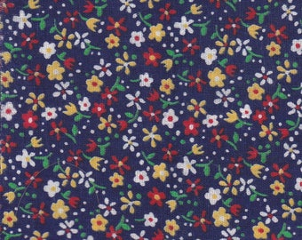 10 Precut 4 Inch Squares ~ Red ~ White ~ Yellow Flowers On Navy Background Cotton Print Fabric ~ Scrap Quilting ~ Piecing ~ Fun Projects