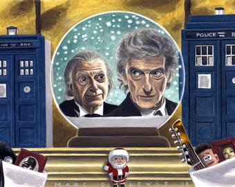 DOCTOR WHO ART - 'Twice Upon A Time' Original Acrylic Painting feat. 12th Doctor Peter Capaldi & 1st Doctor David Bradley