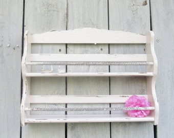 Shabby Chic  Pink Spice Rack, Pink Cottage Chic kitchen display, nail polish organizer, craft paint holder, collectibles display, aged shelf