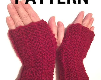 Easy to Knit Hand Warmer Fingerless Gloves Knitting Pattern