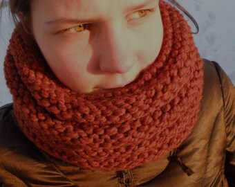 Hand Knit Cowl Infinity Scarf, BOSSO - NUTMEG Ribbed Neckwarmer (963)
