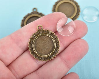 Bronze Charms with Glass Dome 16mm Round Cabochon Bezel Tray for charms jewelry key chains 10 sets, chs3105