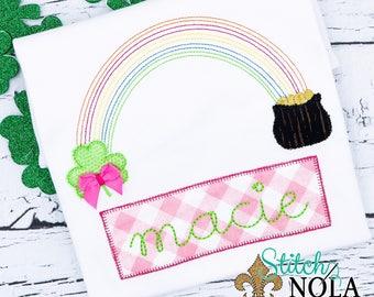 st. Patrick's Day shirt, Rainbow Clover, Applique,  clover alpha appliqué, girl St. Patrick's Day, boy St. Patrick's Day, St. Patrick's Day