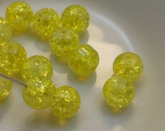 Czech Druk Beads Round Transparent Crackle Lemon 8mm (15pk) PH-8DK-CBLEM