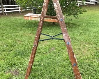 Antique Stepladder, Old Chippy Paint . Ladder,