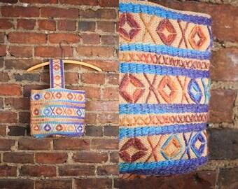 60s Burlap Bag / Market Bag / Embroidered Purse / 1960s Boho