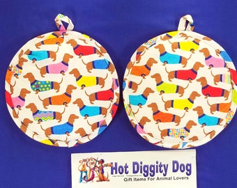 Dachshund Dog Pot Holder Pair All Cotton Kitchen and Dining, Dining and Serving