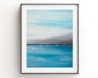 Instant digital download printable art wall print blue white seascape modern painting oceans wall decor abstract print modern artwork decor