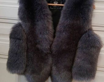 Russian Princess very natural looking grey vegan fur, no animal died for that beauty
