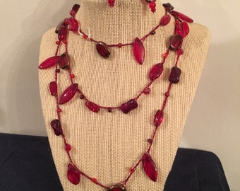 Glowing-Red Beaded Necklace - Many-shaped, Extra-long, Ruby-colored Bead Necklace. Crocheted Ruby Beaded Necklace