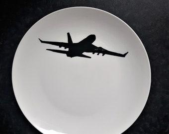 Airplane, airplane, manpresent, boys, man, gift, present, gift, present, plate, Dish, BNW, blackandwhite, black, white, plate, plate, tableware