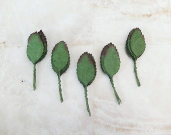 50 dark tip paper leaves - mulberry paper leaves (size 5)