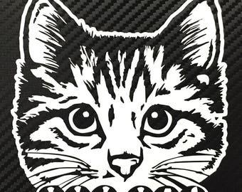 Peeking Cat Vinyl DECAL Sticker Custom