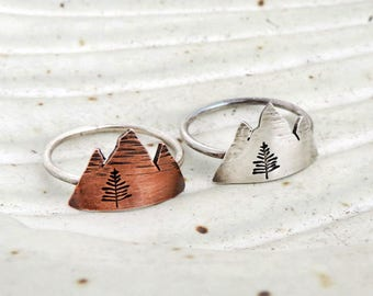 Rustic Mountain Ring - Gift for Hiker - Mountain Peaks - Nature Jewelry - Nature Ring - Hiking Jewelry - Silver Ring - Copper Ring