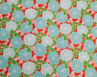 Cotton Print Fabric Dahlia Turquoise