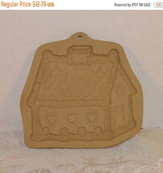 Delayed Shipping Brown Bag Cookie Art Gingerbread House Stamp Vintage Gingerbread Cookie Mold Bisque Clay Mold Date 1985 Shortbread Stamp Mo