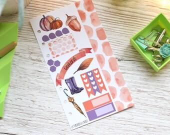 Watercolour Autumn Personal Mini Kit; Filofax; Kikki K; Personal Planner; Checklist Stickers; TN Kit; Pumpkin Stickers