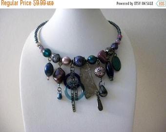 ON SALE Vintage Memory Wire Plastic Metal Glass Lamp Work Choker Necklace 5817