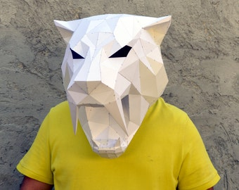 Make Your Own Sabertooth Tiger Mask. | Papercraft Sabertooth | Papercraft Tiger | Papercraft Animal | Puma | Tiger | Leopard | Wild cat