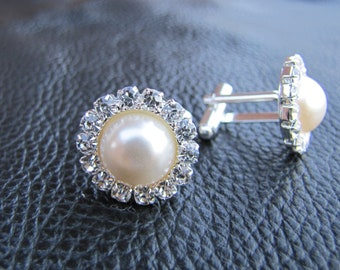Ivory pearls rhinestone cuff links for grooms