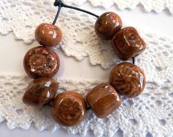 Ceramic beads 8 handmade raku beads ceramic bead terracotta copper earthenware beads handmade jewellery supplies unique jewelry making