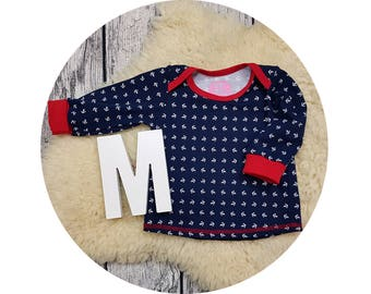 Baby shirt, American neckline, long sleeve shirt, long sleeve, gift, baby, Mitwachsen shirt, shirt, sweater, anchor, sailor, maritime, sailor
