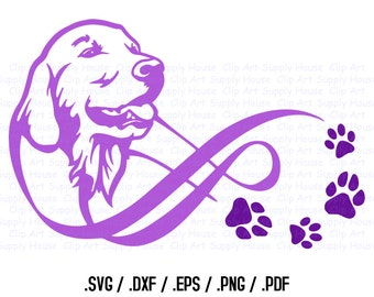 Golden Retriever, Infinity Puppy Clipart, Veterinary Office Art, Animal SVG File, Vinyl Cutter, Screen Printing, Die Cut Machine - CA116