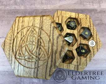 Premium Dice Vault - Hexagon Shape - Zebrawood - Eldertree Gaming
