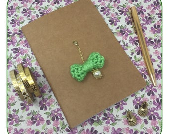 Lime Green Small Bow Charm in Gold with a Pearl attached