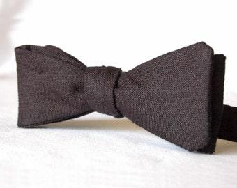 Men's Bowtie - Black Linen Cotton Bow Tie