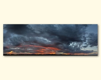 "Stormy Pink Sunset Panoramic - 60"" x 20"" Wrapped Canvas Print Photo"
