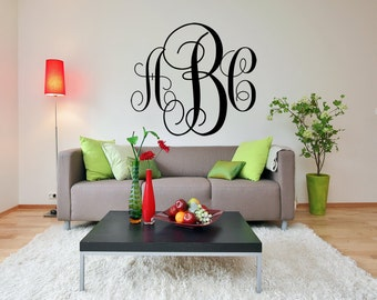 "FREE SHIPPING ""Monogram"" Wall Decal Custom Size and Color 3 Letters"