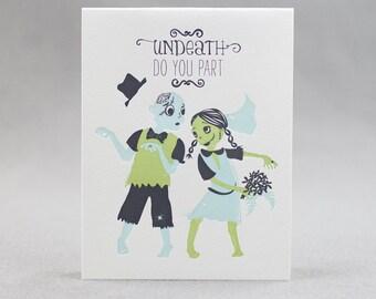Letterpress Wedding Card, Zombie Wedding