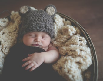Baby Hat Easy CROCHET PATTERN PDF Bear Beanie Teddy Bear Fuzzy