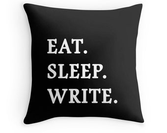 Writer Pillow, Write Pillow, Writing Pillow, Writer Throw Pillow, Write Pillow Case, Writing Toss Pillow, Writer Pillow Cover, Writer Pillow