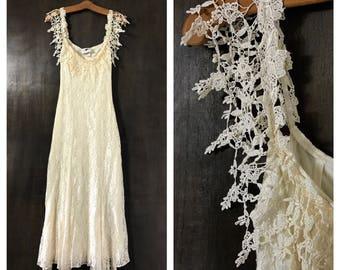Vintage Lace Dress 90's Wedding Dress Small Ivory Lace Dress 90's Dress 80's Dress MINIMALIST Dress Maxi Dress Ivory Sheer Dress Large L