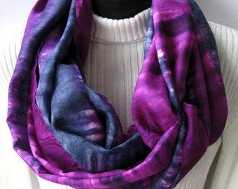 Silk Infinity Scarf - Holiday Berries - Shibori Hand Dyed Silk Scarf for Women Cowl Scarf purple grey blue scarf Spring Fashion womens gift