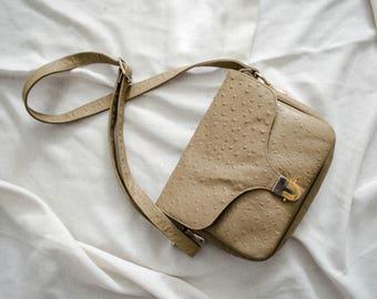 ostrich leather purse | cross body bag | pebbled leather purse | faux leather purse | taupe purse | taupe shoulder bag | Robert Bastien