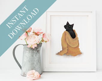 Instant Download, Digital Download Art, Cat Illustration, Cat Lover Gift, Cat Pictures, Cat Gift, I Like Cats, Cat Art Print, Cats