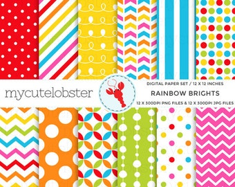 Rainbow Brights Digital Paper Set - patterned paper pack, rainbow, polka, stripe - personal use, small commercial use, instant download