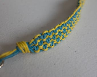 24 inch yellow and turquoise hemp necklace