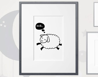 Sleepy Sheep | Nursery Print | Black and White | A4 | A3