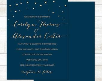 navy gold wedding invitation printable navy gold glitter confetti modern wedding shower digital invite customizable personalized